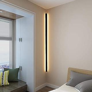 Applique murale longue LED Applique murale d'angle minimaliste d'intérieur Applique murale noire en métal pour chambre à c...