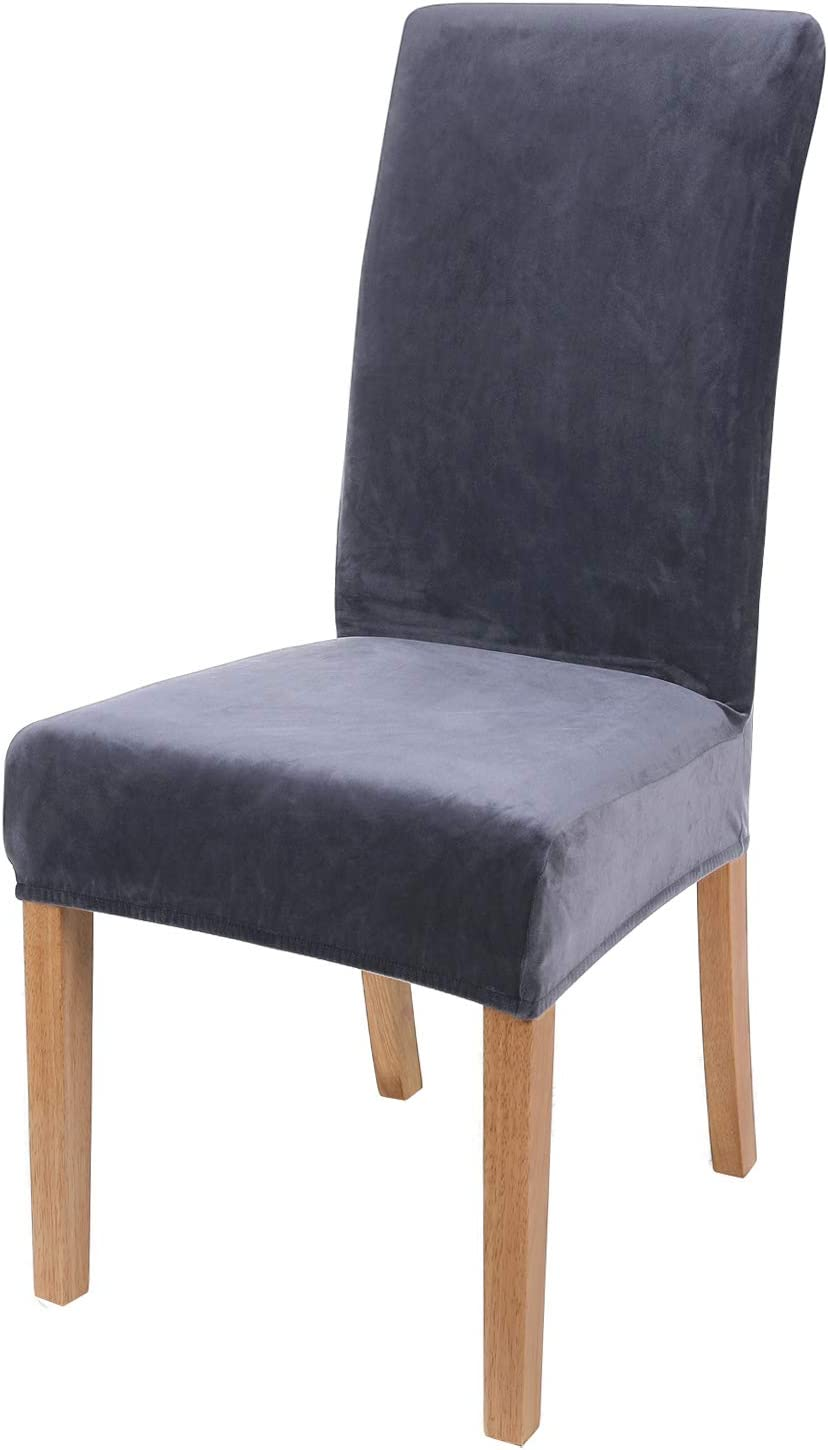 Smiry Velvet Stretch Dining Room Chair Covers Soft Removable Din