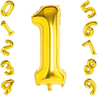 40 Inch Large Gold Number 1 Helium Balloon,Foil Digital Balloons for Party Birthday Anniversary Festival Decorations