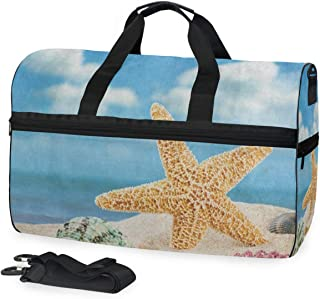 Sea Star Shell Beach Colorful Gym Bag with Shoes Compartment Sports Swim Travel Overnight Duffels