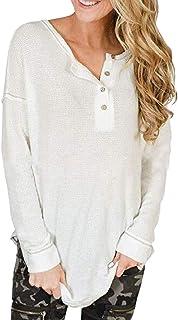 Women Waffle Knit Tunic Long Sleeve V Neck Blouse Shirts Pullover