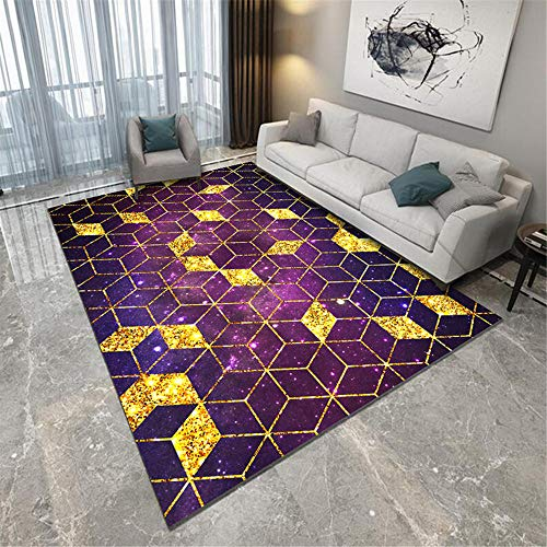 Jiaosa Childrens Rugs purple Carpet purple hexahedron geometric pattern anti-dirty carpet salon durable Small Mats And Rugs 80X120CM Patterned Rug 2ft 7.5''X3ft 11.2''