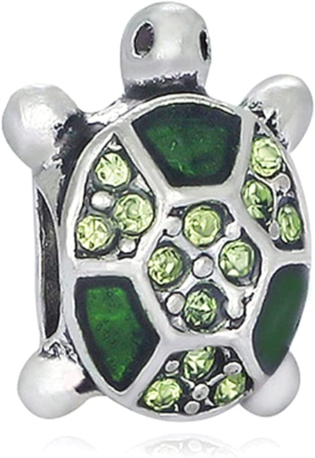 J&M Green Sea Turtle with Crystals Charm Bead for Charms Bracelets