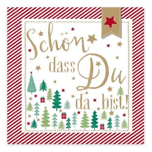 Servietten 'Weihnachtsbaum - Schön, dass du da bist!' - rot/multicolor (20 Stück) für Weihnachten, die Adventszeit und Feste