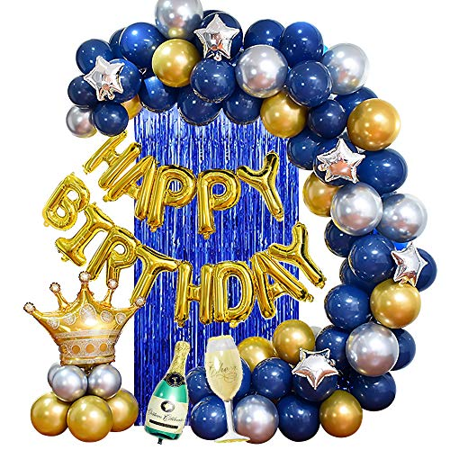 MMTX Feste di Compleanno con Blu Argento Oro Palloncini per Uomini Donne Adulti,Happy Birthday bandiera Corona Champagne Tazza Palloncini per 18/20/30/40/50/60 Anni Compleanno Decorazioni
