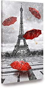 Paris Canvas Wall Art Red Umbrellas Canvas Prints Painting Black and White Paris Eiffel Tower Canvas Printing Artwork for Living Room Wooden Frame Paris Decor for Bedroom Bathroom Kitchen Home 12x24 Inch