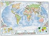 Politische Weltkarte mit 4 Nebenkarten, 100x70 cm, deutsch,