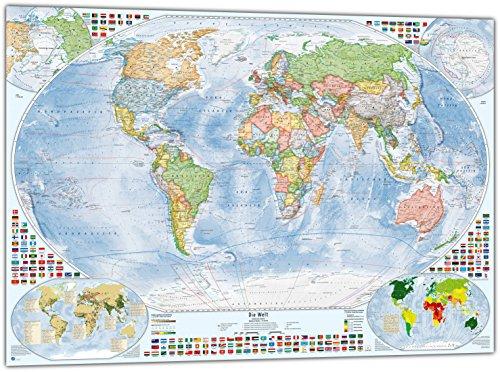 Politische Weltkarte mit 4 Nebenkarten, 100x70 cm, deutsch, Stand 2019