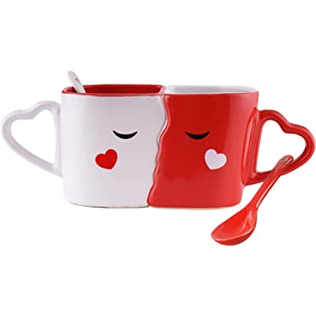 Parejas Juego de 2 Tazas de Desayuno Café o Te – Accesorio de Cerámica Besándose – Cuchara de