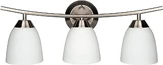 MingBright 3 Lights Bathroom Vanity Light Fixture,Brushed Nickel Finish,White Glass Shade Wall Sconce Pendant Lamp
