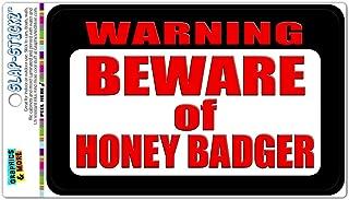 Graphics and More Warning Beware of Honey Badger Slap-STICKZ(TM) Automotive Car Window Locker Bumper Sticker