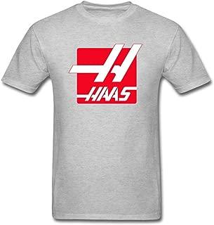 QLJYKJ Men Haas F1 Team Logo Shirts Natural Cotton Grey XS