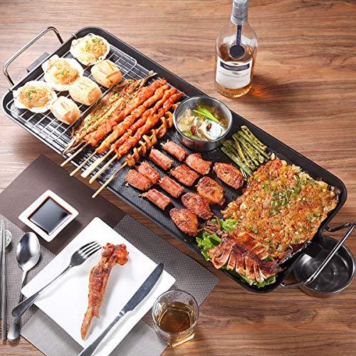 Elektro Raclette Grill standgrill Non Stick BBQ 1500W Rauchlosen Grill Maschine 5-Ebene Einstellbare Temperatur Elektrische Haushalts Öfen Kochen Werkzeug Grillnetz aus Edelstahl für Balkon