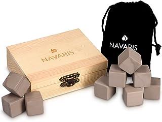 Navaris 9X Whisky Steine aus Granit - Kühlsteine Set Whiskey Stones - Eiswürfel für Rum Scotch Getränke - Whiskeysteine mit Holzbox und Samtbeutel