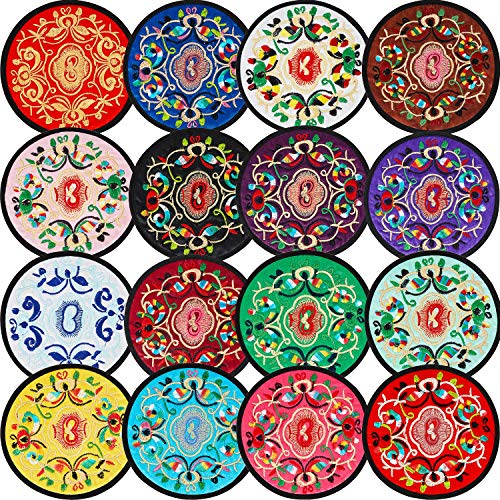 16 Pieces Round Embroidered Cloth Coasters Vintage Ethnic Floral Coasters Teacup Mat Absorbent Coaster for Drinks Home Bar Cafe Beer Mug Wine Glass Bottle