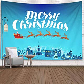 Pamime Wall Hanging Decorations,Christmas Wall Decor Merry Christmas Card Santa Rides Sleigh Night Cartoon Vector Claus Town Wall Hanging Art Tapestry,80X60 Inches Inhouse,Christmas Wall Tapestry