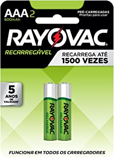 PILHA RECARREGÁVEL ECO AAA com 2 600MAH 55902, RAYOVAC, Amarelo