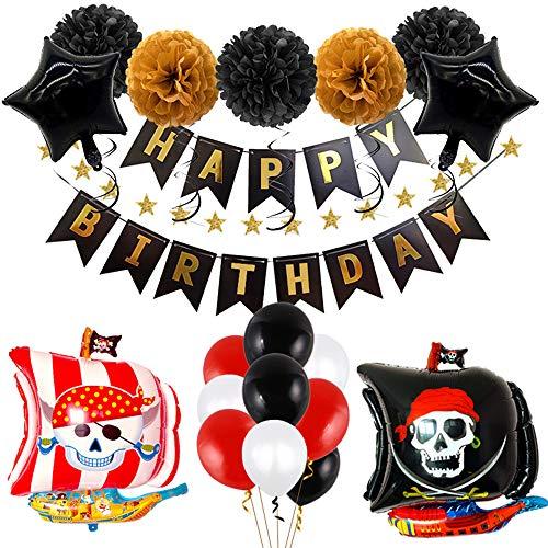 Integrity.1 Piraten Party Luftballons, Piraten Luftballons Set,Piraten Kindergeburtstag Luftballons,Piraten Geburtstagsfeier Set, Piratenschiff Luftballon,Piraten Banner, Papierblumenballon