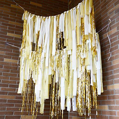 Melody Fantasy White Gold 200 Plastic Strips Streamer Backdrop, Pastel Ribbon Fringe Curtain Backdrop for Birthday Bachelorette Wedding Baby Shower Family Gathering Party Decorations