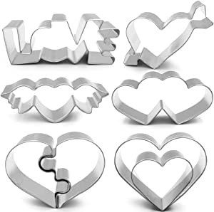 ANPOPO Wedding Cookie Cutter Set for Anniversary/Bridal/Engagement/Valentine - 8 Piece Different Heart Shape - Double Hearts, Love, Puzzle Heart, Arrow heart, Wing Heart and 2 Hearts