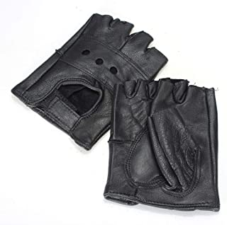 Homme Motorcycle Gloves, Leather Waterproof Fingerless Motorcycle Gloves, Non-Slip Breathable Motorcycle Gloves Men for Motocross ATV Motorcycle Equipment