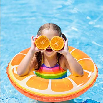 Fruit Pool Float, Watermelon Orange Lemon Swim Tube Ring, Inflatable Swim Pool Party Inner Tube for Kids, 3 Style Sum...