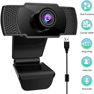 Pptabold - Webcam 1080P con micrófono, USB 2.0 Full HD, cámara con clip ajustable para videollamadas, reuniones, trabajo en casa, estudio y juego