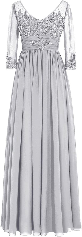 SDRESS Women's Sequins Lace Appliques Half Sleeve VNeck Mother of The Bride Dress