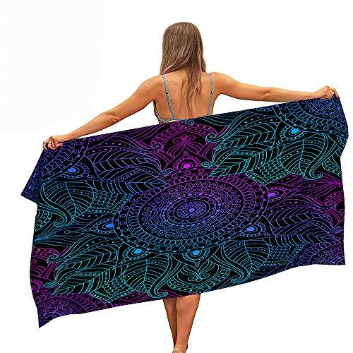 Surwin Beach Bath Towel, Microfibre Quick Dry Extra Large Lightweight Super Soft Summer Mandala Towels perfect for Travel, Swim, Camping, Fitness, Sports, Yoga (Black purple,150x180cm)