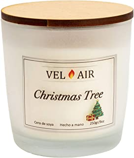 VEL AIR. Vela Aromática Christmas Tree (Arbol de Navidad) (Pino de navidad) Cera de soya, Ecologicas. 250 gr/ 9 oz.