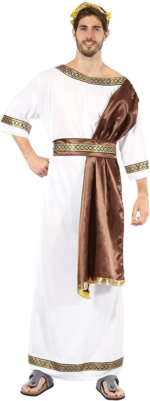 Greek Goddess Toga Fancy Dress Costume With Sash Ancient Roman Grecian Outfit