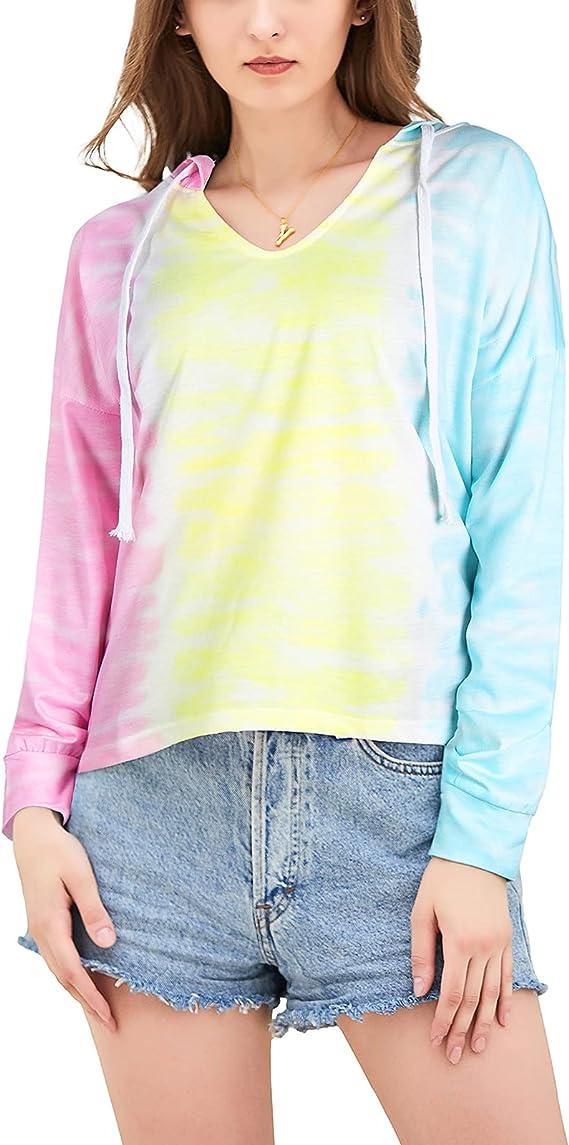 Topee Women's Tie Dye Hoodie Long Sleeve Drawstring Thin Sweatshirt