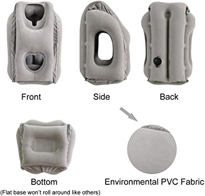 SmartDer Inflatable Travel Pillow, Airplane Pillow with Patented Valve Design, Travel Accessories with Neck and Head Support, Travel Pillows for Long Haul Flights, Cars, Buses, Trains, Office Napping