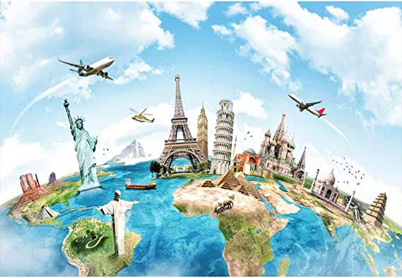 Travel 10x8 FT Vinyl Photo Backdrops,Passport and Visa Stamps Illustration of Toronto Hong Kong Berlin Print Background for Child Baby Shower Photo Studio Prop Photobooth Photoshoot