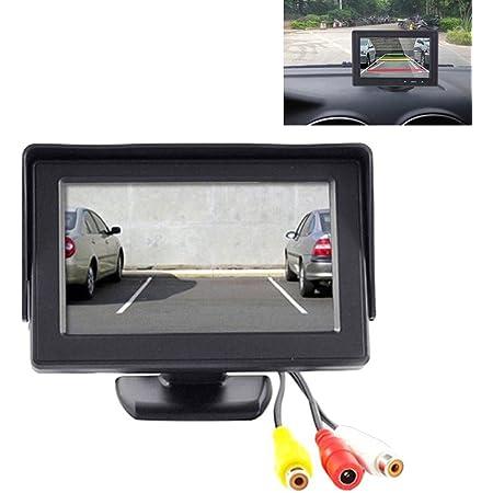 Ympa 12 7 Cm 5 Zoll Inch Tft Lcd Video Monitor Stand Standfuss Für Auto Und Pkw Kfz 12v Rückfahrkamera Rückfahrsystem Mit Zwei Videoeingängen Lcm St5 Auto