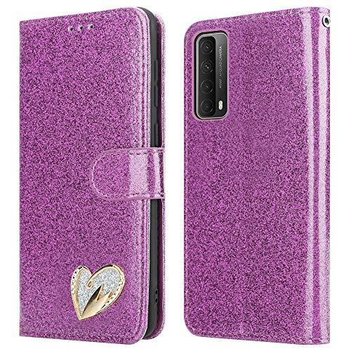 iPEAK Schutzhülle für Huawei P Smart 2021, glänzendes Leder, glitzernd, Kartenhalter, Flip-Ständer, Brieftaschenformat für P Smart 2021 (lila)