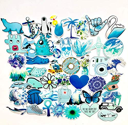 Blue Small Fresh Stickers Cute Literary Suitcase Stickers Skateboard Guitar Luggage Waterproof Stickers 50 Sheets