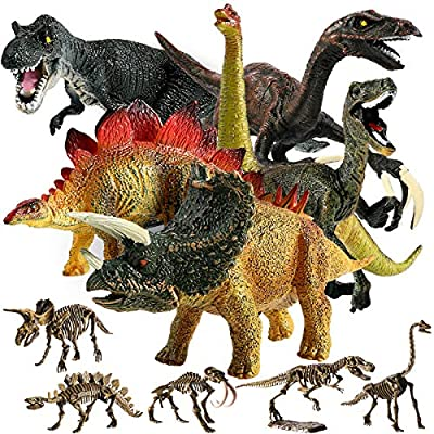 "Educational Dinosaur Toys, GEYIIE Kids Realistic Toy Dinosaur Figures 6.7"" Pack of 11, Small Animal Plastic Dinosaur with Skeletons Toddler Playset Toys for Party Favors, Birthday Easter Gifts"