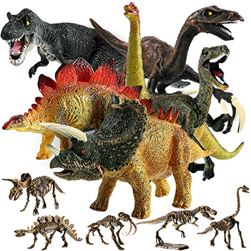 """Educational Dinosaur Toys, GEYIIE Kids Realistic Toy Dinosaur Figures 6.7"""" Pack of 11, Small Animal Plastic Dinosaur with Skeletons Toddler Playset Toys for Party Favors, Birthday Gifts"""