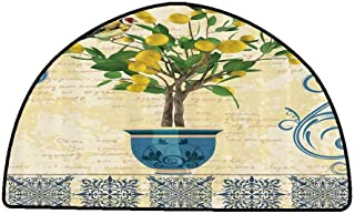 Kitchen Mat Lemons Decor,Lemon Tree Birds Traditional Tiles Paisley Monarch Butterfly Bird Vintage Style Floral Flowerpot Ceramic Vase,Ivory Yellow Green Blue Navy,W35 x L24 Half Round Kitchen Rugs