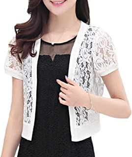 77f30b15039a5 Xswsy XG-CA Womens Fashion Floral Lace Short Sleeve Short Cardigan Shrug  Bolero