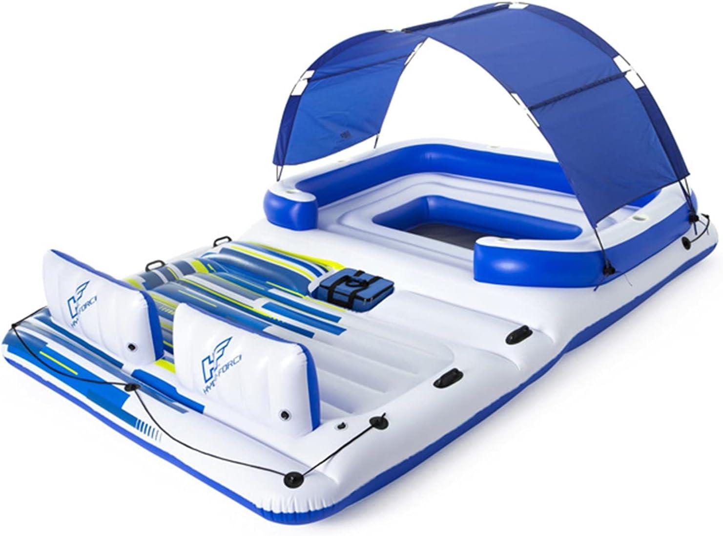 ZXQZ Kayak Barco Flotante Inflable, Juguetes Acuáticos Flotantes para Piscina Sea Island con Cubo de Hielo Y Parasol UV, para Fiestas En La Piscina