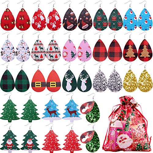 Duufin 20 Pairs Christmas Earrings Faux Leather Earrings Set Teardrop Glitter Xmas Tree Leather Earrings Bulk for Teens Girls Women