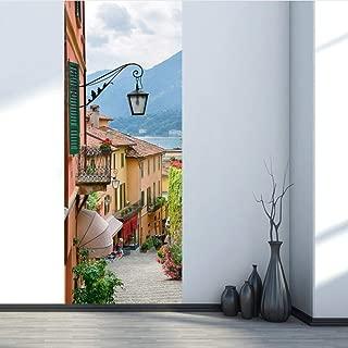pbldb Italy Como Lake Wallpaper On The Door PVC Waterproof Door Sticker 77X200Cm Art Home Decor Mural DIY Bedroom Renew77X200Cm