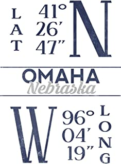 Omaha, Nebraska - Latitude and Longitude (Blue) (16x24 Fine Art Giclee Gallery Print, Home Wall Decor Artwork Poster)
