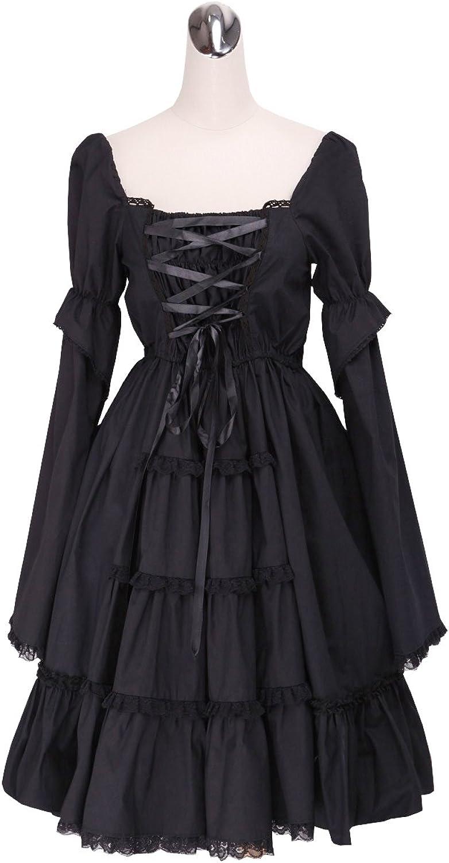 Antaina Black Cotton Ruffle Lace Sexy LowCut Gothic Punk Lolita Cosplay Dress