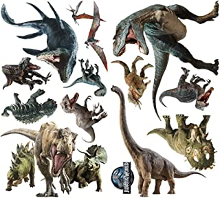 Mendom 3D Watercolour Dinosaur Wall Stickers,Peel and Stick Removable Wall Decals for Kids Bedroom Living Room Nursery