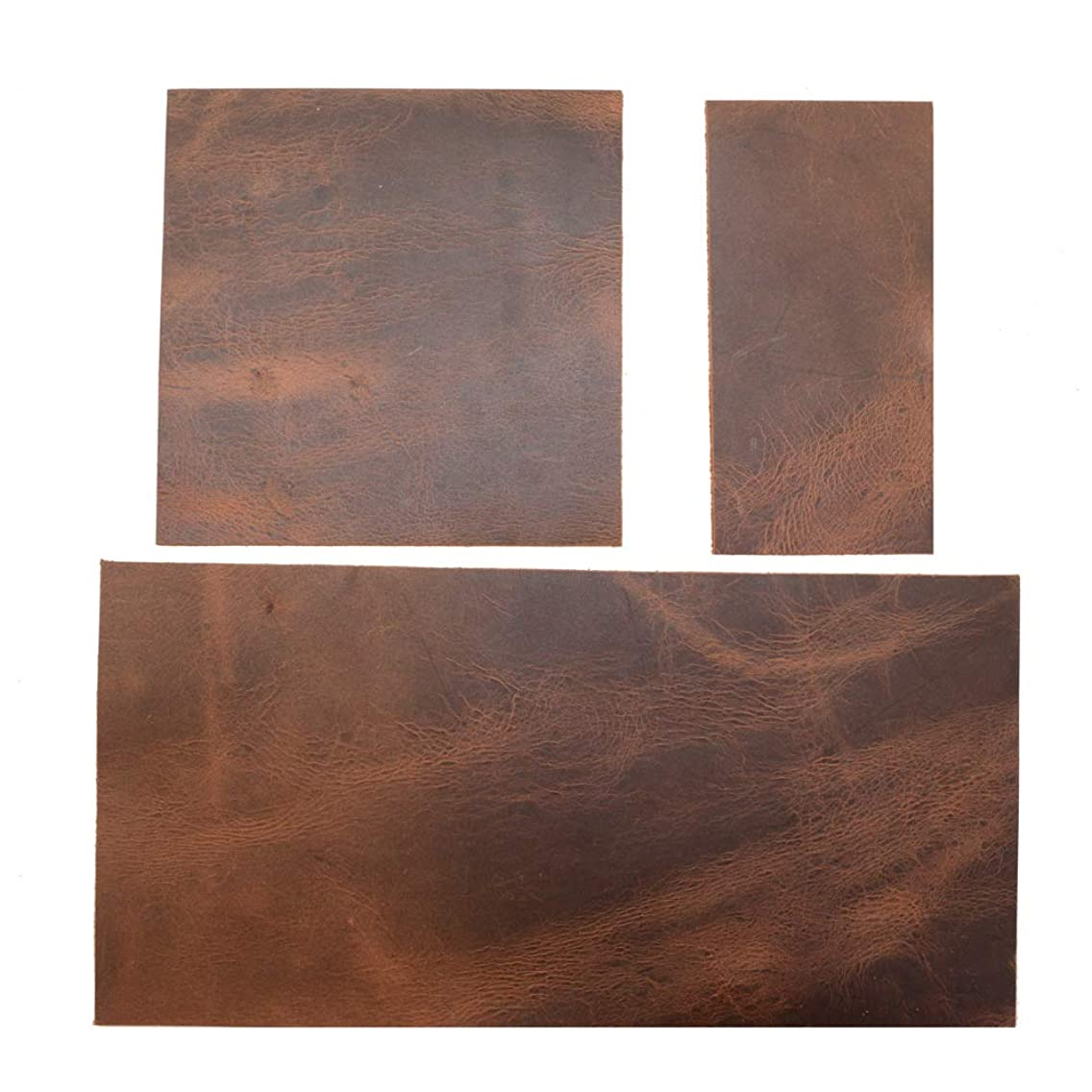 Hide & Drink, Rustic Leather Rectangles Variety 3 Piece Set (6