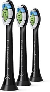 Philips Sonicare DiamondClean replacement toothbrush heads, HX6063/95, BrushSync technology, Black 3-pk