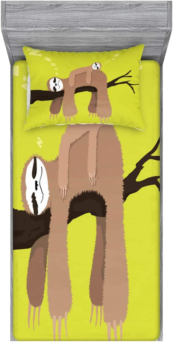 Ambesonne Popular products Bargain sale Sloth Fitted Sheet Pillow Mother S Sham Set Cartoon